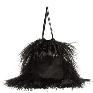 The Attico black feather velvet clutch bag